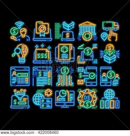 Digital Economy And E-business Neon Light Sign Vector. Glowing Bright Icon Digital Economy And E-com