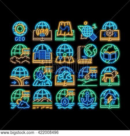 Geography Education Neon Light Sign Vector. Glowing Bright Icon History And Urban Geography, Climato