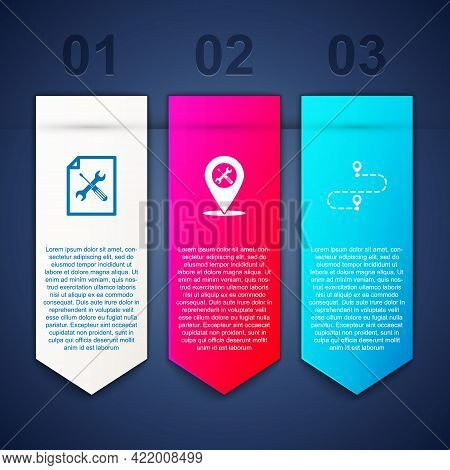 Set File Document Service, Location And Route Location. Business Infographic Template. Vector