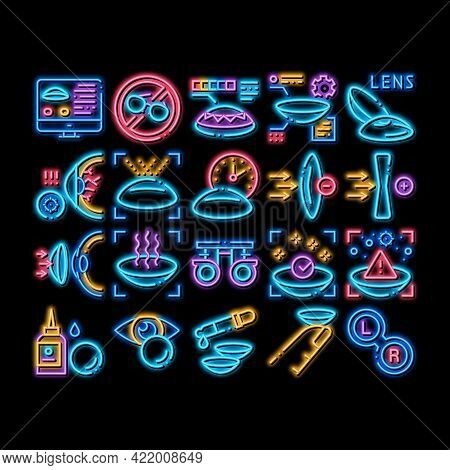 Contact Lens Accessory Neon Light Sign Vector. Glowing Bright Icon Contact Lens On Finger, Eyedroppe