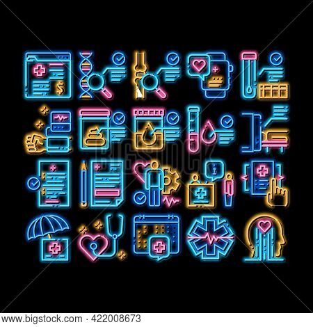 Health Checkup Medical Neon Light Sign Vector. Glowing Bright Icon Healthcare Checkup List And Calen