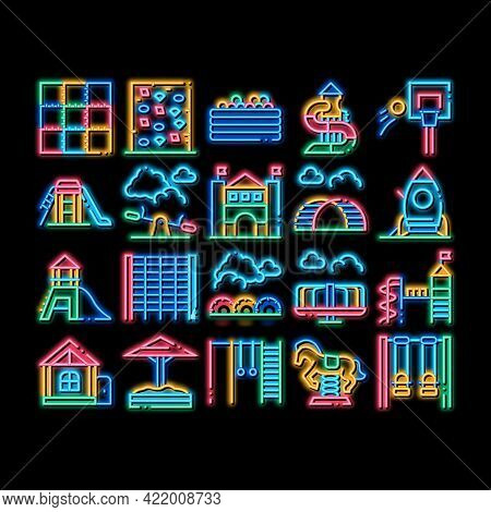 Playground Children Neon Light Sign Vector. Glowing Bright Icon Basketball And Climbing Wall, Seesaw