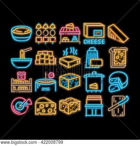 Cheese Dairy Food Neon Light Sign Vector. Glowing Bright Icon Cheese On Sliced Bread Sandwich Breakf