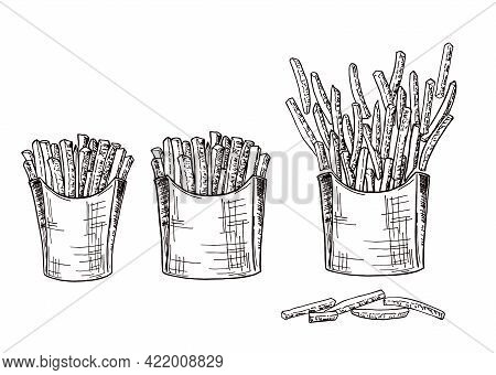 Cardboard Boxes With Handmade Sketch Fries. Hand Drawing Vector Fast Food Illustration. French Fries