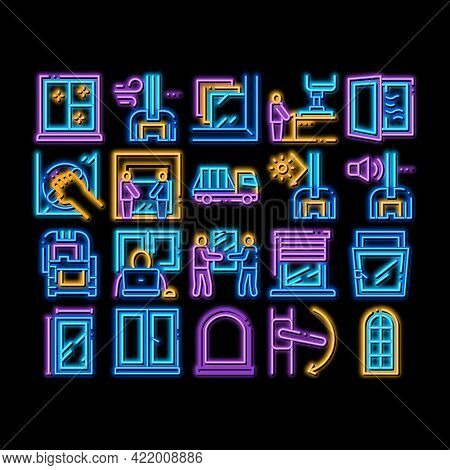 Pvc Window Frames Neon Light Sign Vector. Glowing Bright Icon Pvc Window Architectural Glass Buildin