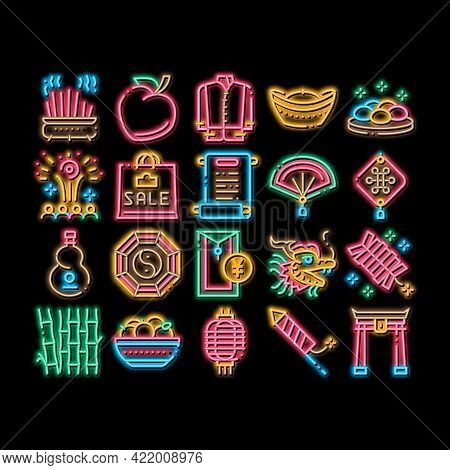 Chinese New Year Feast Neon Light Sign Vector. Glowing Bright Icon Chinese Traditional Hat And Cloth