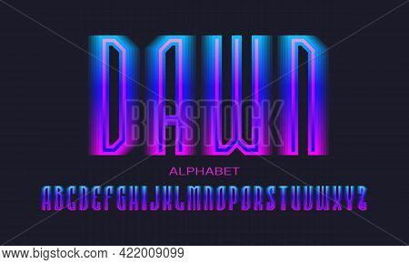 Dawn Alphabet Of Blue Pink Gradient Letters. Luminous Display Font. Isolated English Alphabet.