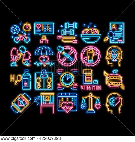 Healthy Lifestyle Neon Light Sign Vector. Glowing Bright Icon Healthy Food Dish And Vitamin Pills, S