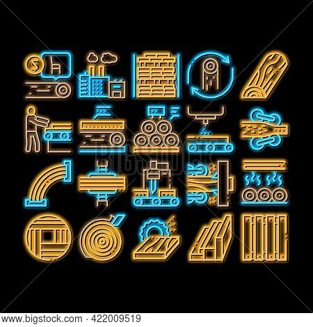Wood Production Plant Neon Light Sign Vector. Glowing Bright Icon Wood Sawmill And Forestry Equipmen