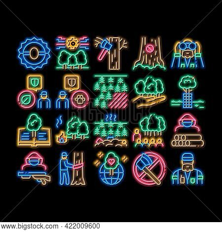 Forestry Lumberjack Neon Light Sign Vector. Glowing Bright Icon Forestry Working Equipment And Tree