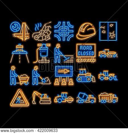 Road Repair And Neon Light Sign Vector. Glowing Bright Icon Road Repair And Maintenance Equipment, B