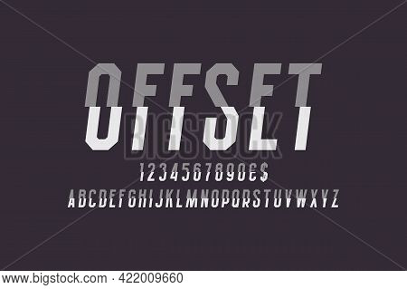 Offset Artistic Display Font. Gray White Letters, Numbers And Currency Signs Cut In Half. Isolated E