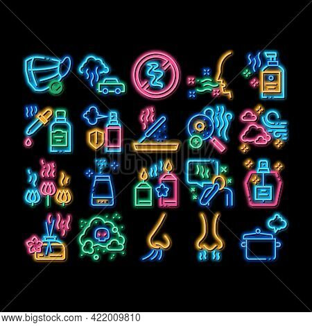 Odor Aroma And Smell Neon Light Sign Vector. Glowing Bright Icon Nose Breathing Aromatic Odor And Cl