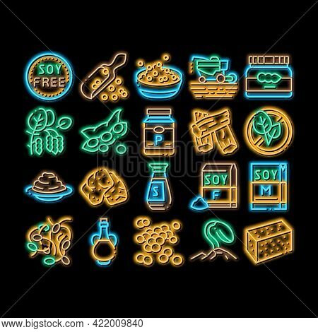 Soy Bean Food Product Neon Light Sign Vector. Glowing Bright Icon Agricultural Harvester Harvesting