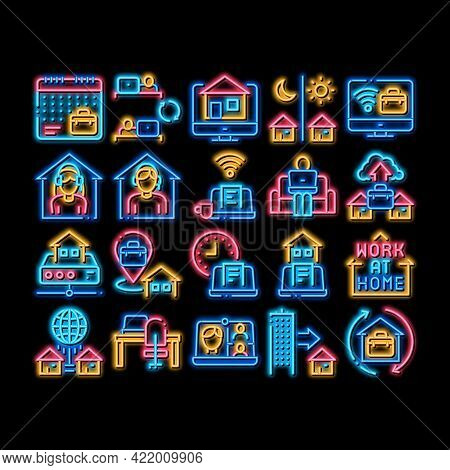Remote Work Freelance Neon Light Sign Vector. Glowing Bright Icon Work At Home, Internet Job And Onl