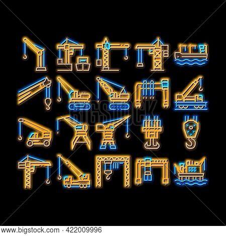 Crane Building Machine Neon Light Sign Vector. Glowing Bright Icon Crane Port Construction For Unloa