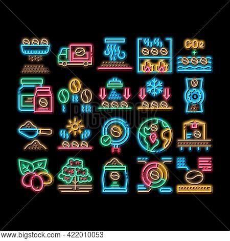 Coffee Production Neon Light Sign Vector. Glowing Bright Icon Coffee Production Factory And Conveyor