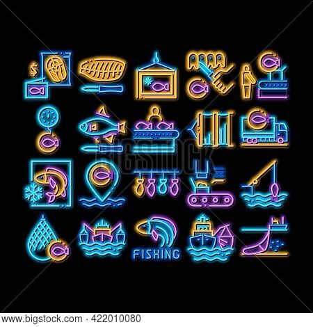 Fishing Industry Business Process Neon Light Sign Vector. Glowing Bright Icon Fishing Industry Proce