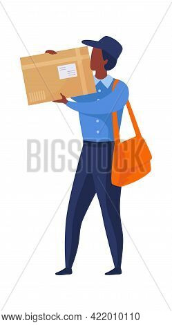 Postman Shipping Parcel. Express Delivery Concept. Post Office Worker Carries Box. Courier Holding L