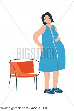 Pregnant Woman. Pregnancy Period Concept. Cute Mother Expecting Baby. Cartoon Character Gets Up From