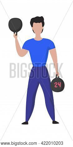 Sport Training. Cartoon Male Doing Exercises. Athlete Lifts Weights. Isolated Sportsman Holding Dumb