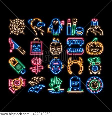 Halloween Celebration Neon Light Sign Vector. Glowing Bright Icon Halloween Pumpkin And Bat, Ghost A
