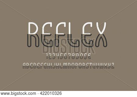 Reflex Artistic Display Font. Bisected White Black Letters, Numbers And Currency Signs. Isolated Eng