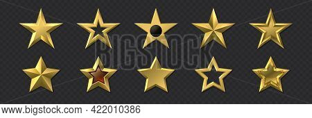 Realistic Golden Stars. 3d Metal Luxury Awards. Shiny Gold Marks And Review Symbols. Metallic Badges