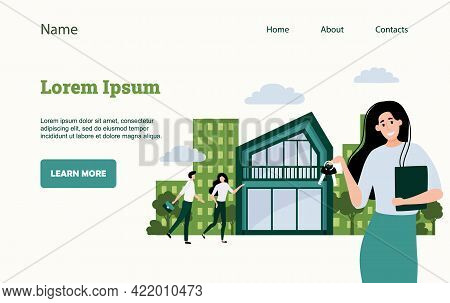 Real Estate Landing Page. Website Ui Mockup. Mortgage And Rent Apartment, Business Office And Proper