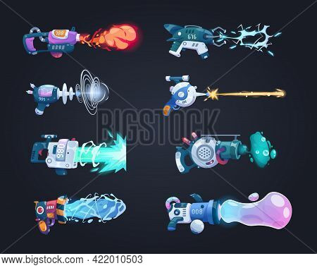 Futuristic Guns. Cartoon Game Weapon Shoots Laser Beam Or Plasma. Isolated Blaster Attack With Flame