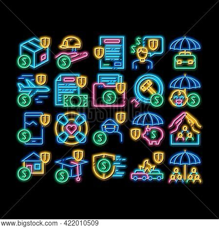 Insurance All-purpose Neon Light Sign Vector. Glowing Bright Icon Insurance Agreement For Protection