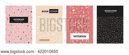 Terrazzo Book Cover. Abstract Italian Concrete Textures For Notebooks. Marble Stone Mockup With Chao