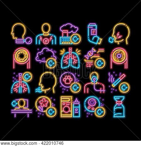 Asthma Sick Allergen Neon Light Sign Vector. Glowing Bright Icon Asthma Allergy On Animal And Smoke,