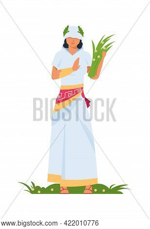 Demeter Greek Goddess. Ancient Mythological Character. Deity Of Fertility And Agriculture. Woman In