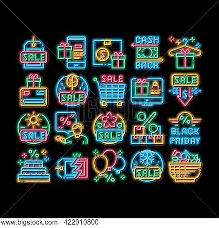 Cost Reduction Sale Neon Light Sign Vector. Glowing Bright Icon Winter And Summer Seasonal Cost Redu