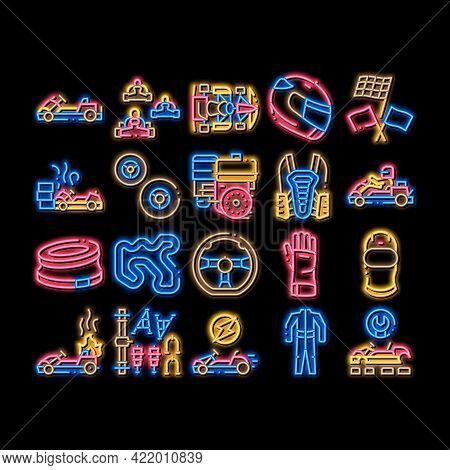 Karting Motorsport Neon Light Sign Vector. Glowing Bright Icon Karting Race And Track, Kart Engine A