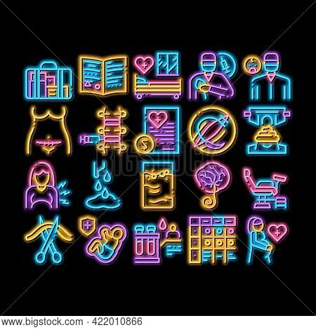 Maternity Hospital Neon Light Sign Vector. Glowing Bright Icon Hospital Prenatal Ward And Generic Ch