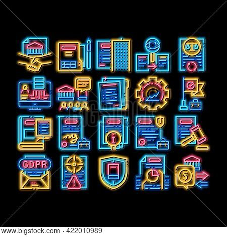 Policies Data Process Neon Light Sign Vector. Glowing Bright Icon Document And Paper, Contract And S