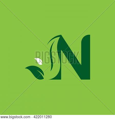 Letter N Green Leaf Logo Design Element, Letter N Leaf Initial Logo Template