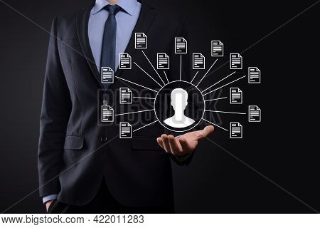 Document Management System Dms .businessman Hold User And Document Icon.software For Archiving, Sear