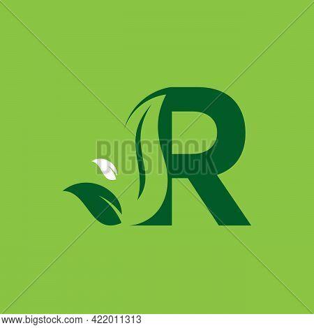 Letter R Green Leaf Logo Design Element, Letter R Leaf Initial Logo Template