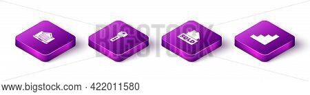 Set Isometric Online Real Estate House, House Key, Hanging Sign With Text Sold And Staircase Icon. V
