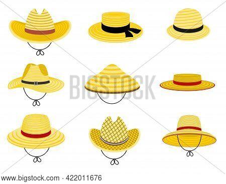 Farmers Gardening Hats. Summer Traditional Agriculture Rural Headdress. Asian Japan Hat, Straw Ameri