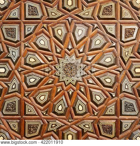 Closeup Of Wooden Arabesque Decorations Tongue And Groove Assembled, Inlaid With Ivory And Ebony, On