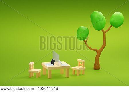 Work At Garden With Laptop And Partition Shield For Social Distancing, 3d Illustration.