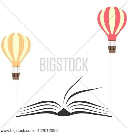 Open Book Icon With Balloons, Two Balloons Pull Up A Book. Vector, Cartoon Illustration. Vector.
