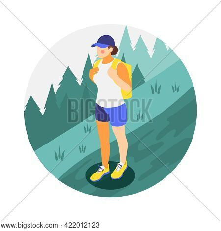 Woman Character With Backpack Hiking In Summer 3d Isometric Vector Illustration