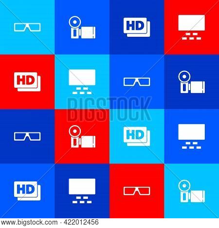 Set 3d Cinema Glasses, Cinema Camera, Hd Movie, Tape, Frame And Auditorium With Seats Icon. Vector