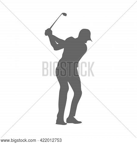 Golf. Silhouette Of An Athlete Playing Golf. The Athlete Hit The Ball With A Stick. Flat Style, Isol