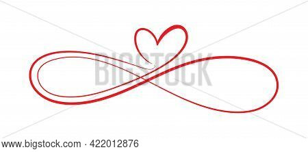 Symbol Of Eternal Love. The Heart And The Infinity Sign. Calligraphy Illustration For Creative Desig